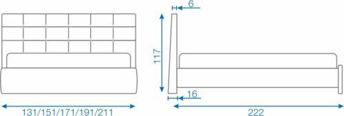 Schema descriptiva cu dimensiunile Pat Ruby - EMob Decor