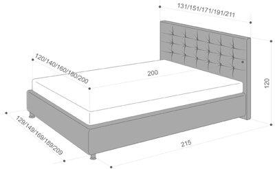 Schema descriptiva cu dimensiule Pat Valencia - EMob Decor