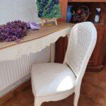 scaun tapitat alb special design lemn masiv