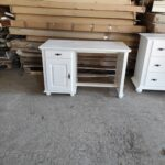 birou alb lemn masiv 1 usa 1 sertar