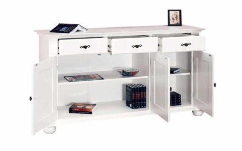 comoda Select 3 usi 3 sertare alb lemn masiv