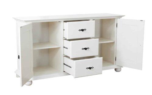 comoda Select 2 usi 3 sertare alb lemn masiv