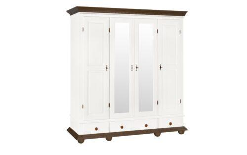 Dulap Luxus lemn masiv cu oglinga alb cu nuc 4 usi 3 sertare