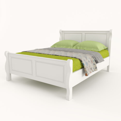 pat alb lemn masiv Belinda design elegant privit din dreapta