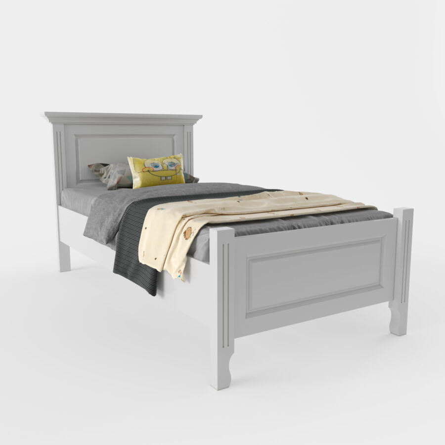 pat lemn masiv alb Cristiana pentru copii 90x200 privit din stanga