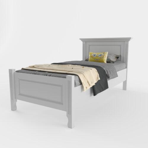 pat lemn masiv alb Cristiana pentru copii 90x200 privit din dreapta