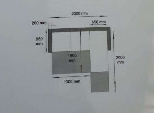 Dimensiuni canapea de colt cu 2 locuri Anemary